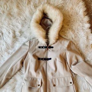 ASOS Wool Peacoat Faux Fur Trim